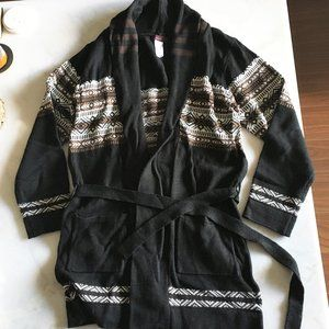 New! Mark knit long open cardigan black brown